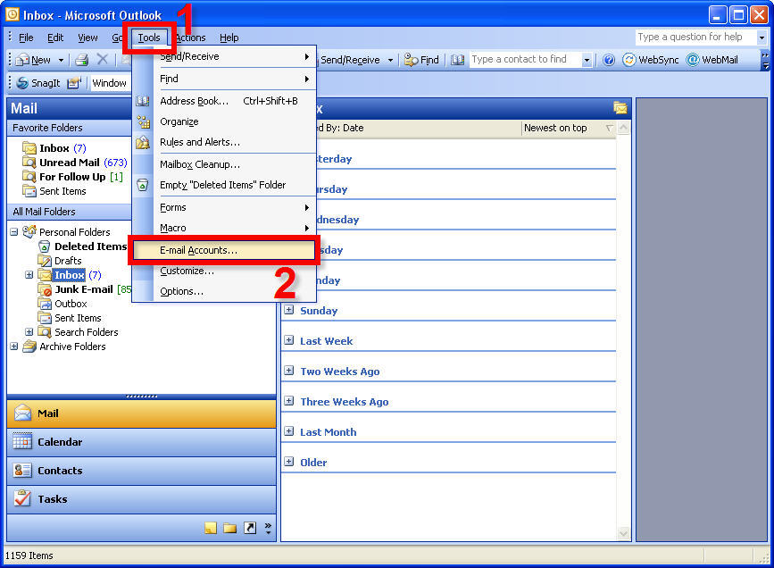2. Select U0027Email Accountsu0027 (If You Do Not See The Option U0027Email Accountsu0027,  Click On The Arrow Pointing Downwards At The Bottom Of The Drop Down Menu  To ...